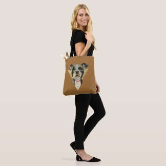 """Puppy Eyes"" Pit Bull Dog Watercolor Painting 3 Tote Bag"