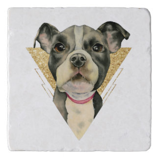 """""""Puppy Eyes"""" Pit Bull Dog Watercolor Painting 3 Trivet"""