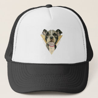 """""""Puppy Eyes"""" Pit Bull Dog Watercolor Painting 3 Trucker Hat"""