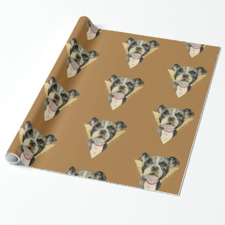"""""""Puppy Eyes"""" Pit Bull Dog Watercolor Painting 3 Wrapping Paper"""