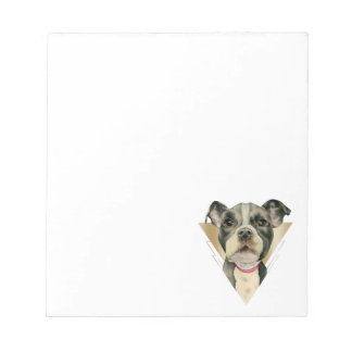 """""""Puppy Eyes"""" Pit Bull Dog Watercolor Painting 4 Notepad"""