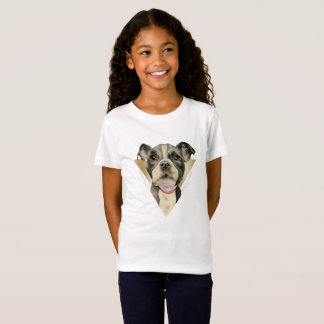 """""""Puppy Eyes"""" Pit Bull Dog Watercolor Painting 4 T-Shirt"""