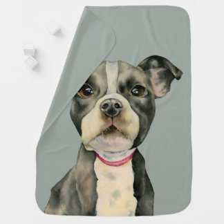 """Puppy Eyes"" Pit Bull Dog Watercolor Painting Baby Blanket"
