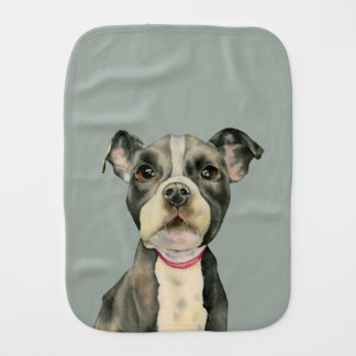 """""""Puppy Eyes"""" Pit Bull Dog Watercolor Painting Burp Cloth"""