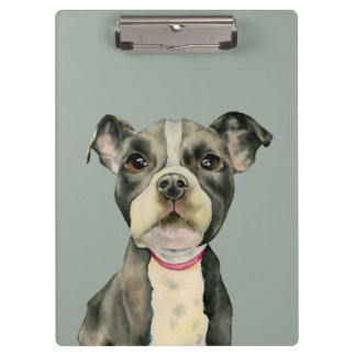 """""""Puppy Eyes"""" Pit Bull Dog Watercolor Painting Clipboard"""
