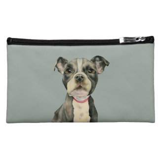 """""""Puppy Eyes"""" Pit Bull Dog Watercolor Painting Cosmetic Bag"""