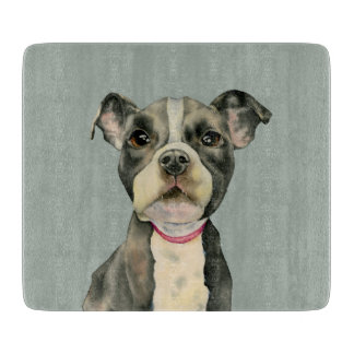 """Puppy Eyes"" Pit Bull Dog Watercolor Painting Cutting Board"
