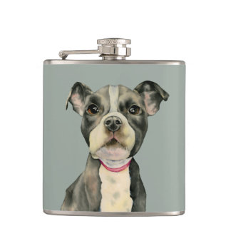"""""""Puppy Eyes"""" Pit Bull Dog Watercolor Painting Hip Flask"""
