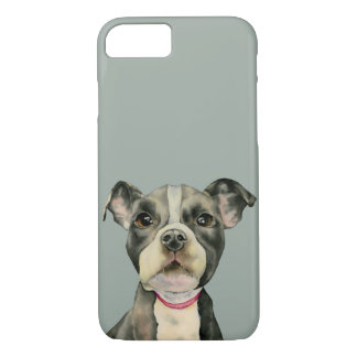 """Puppy Eyes"" Pit Bull Dog Watercolor Painting iPhone 8/7 Case"