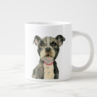 """""""Puppy Eyes"""" Pit Bull Dog Watercolor Painting Large Coffee Mug"""