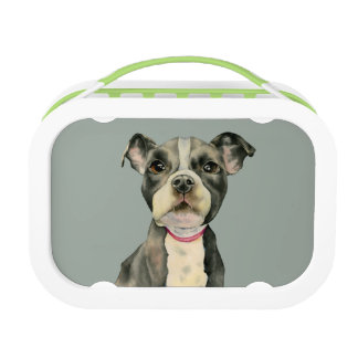 """Puppy Eyes"" Pit Bull Dog Watercolor Painting Lunch Box"