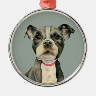 """""""Puppy Eyes"""" Pit Bull Dog Watercolor Painting Metal Ornament"""