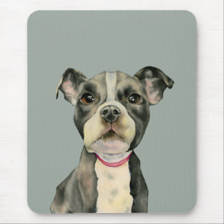 """Puppy Eyes"" Pit Bull Dog Watercolor Painting Mouse Pad"