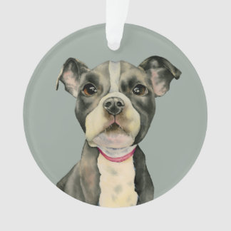 """""""Puppy Eyes"""" Pit Bull Dog Watercolor Painting Ornament"""