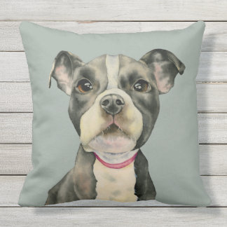 """Puppy Eyes"" Pit Bull Dog Watercolor Painting Outdoor Cushion"