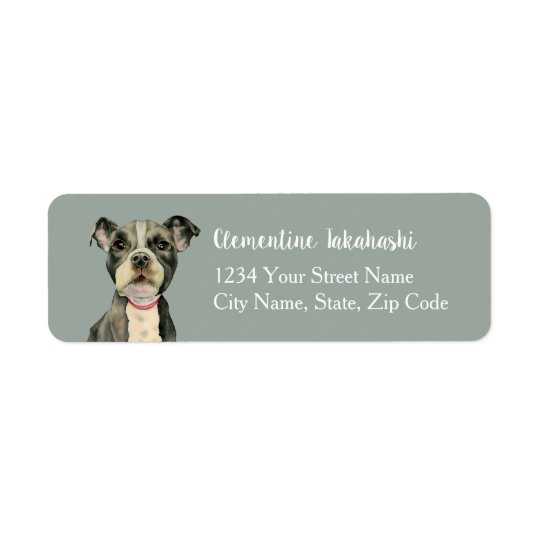 """Puppy Eyes"" Pit Bull Dog Watercolor Painting Return Address Label"
