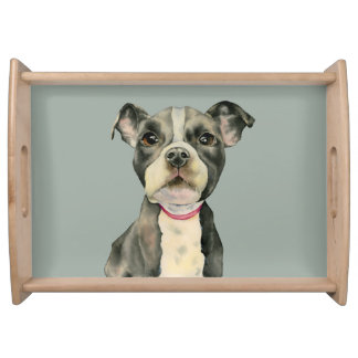 """Puppy Eyes"" Pit Bull Dog Watercolor Painting Serving Tray"