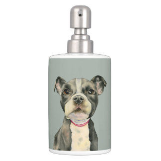 """Puppy Eyes"" Pit Bull Dog Watercolor Painting Soap Dispenser And Toothbrush Holder"