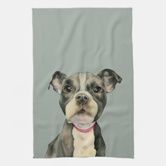 """""""Puppy Eyes"""" Pit Bull Dog Watercolor Painting Tea Towel"""
