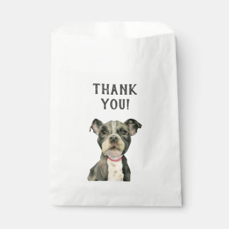 """Puppy Eyes"" Pit Bull Dog Watercolor Thank You Favour Bag"