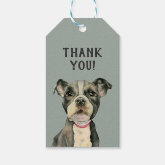 """Puppy Eyes"" Pit Bull Dog Watercolor Thank You Gift Tags"