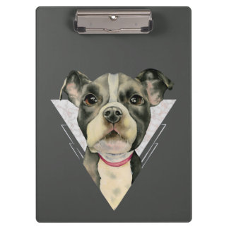 """""""Puppy Eyes"""" Pit Bull Watercolor Painting 2 Clipboard"""