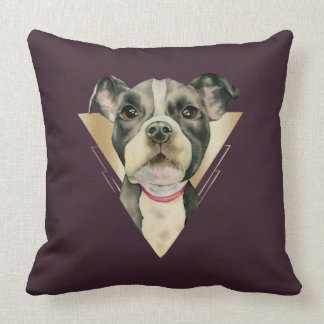 Puppy Eyes Watercolor Painting 4 Cushion