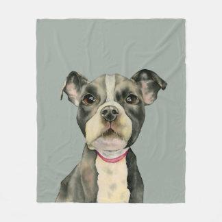 Puppy Eyes Watercolor Painting Fleece Blanket