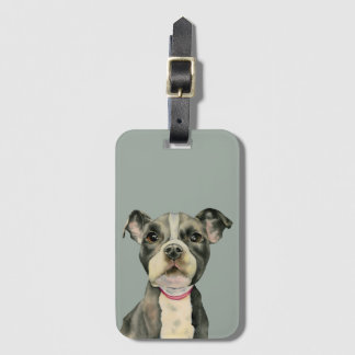 Puppy Eyes Watercolor Painting Luggage Tag