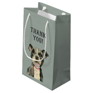 Puppy Eyes Watercolor Painting Thank You Small Gift Bag