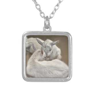 puppy goat in the farm silver plated necklace