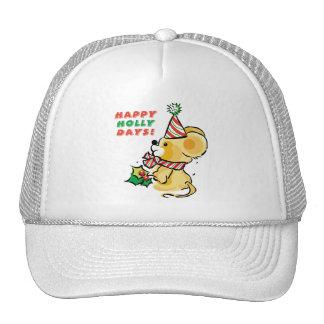 Puppy Happy Holly Days Holiday Cap