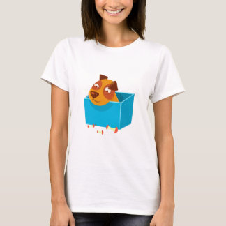 Puppy Hiding In Box Surrounded By Apple Cores T-Shirt
