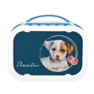 Puppy Holding Lotus Flower | Add Your Name Lunch Box