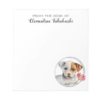 Puppy Holding Lotus Flower | Add Your Name Notepad