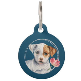 Puppy Holding Lotus Flower | Add Your Pet's Name Pet ID Tag