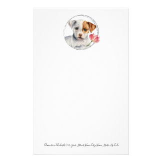 Puppy Holding Lotus Flower | Add Your Text Stationery