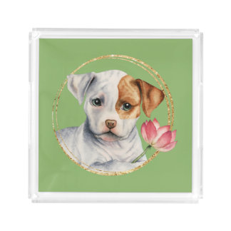 Puppy Holding Lotus Flower with Faux Gold Ring Acrylic Tray