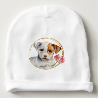 Puppy Holding Lotus Flower with Faux Gold Ring Baby Beanie