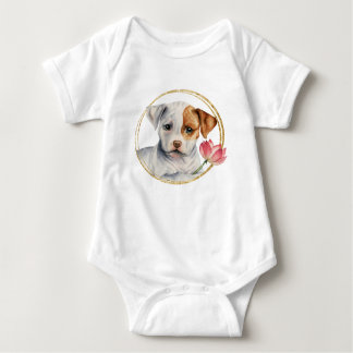 Puppy Holding Lotus Flower with Faux Gold Ring Baby Bodysuit