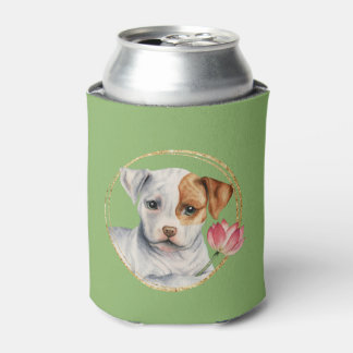 Puppy Holding Lotus Flower with Faux Gold Ring Can Cooler