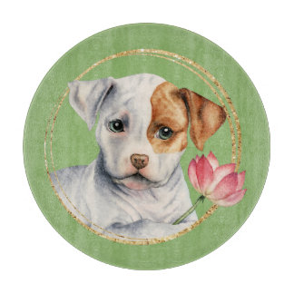 Puppy Holding Lotus Flower with Faux Gold Ring Cutting Board