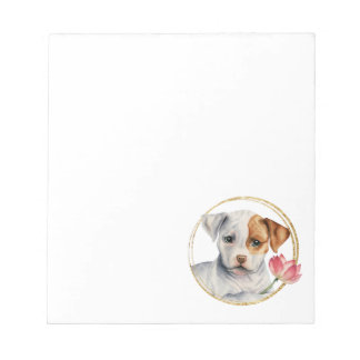 Puppy Holding Lotus Flower with Faux Gold Ring Notepad