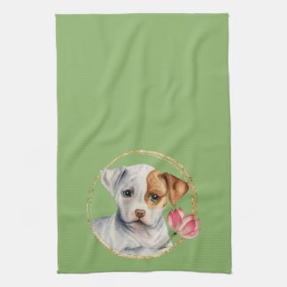 Puppy Holding Lotus Flower with Faux Gold Ring Tea Towel