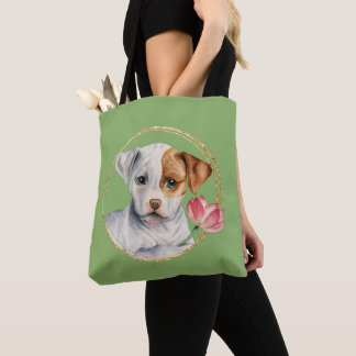 Puppy Holding Lotus Flower with Faux Gold Ring Tote Bag