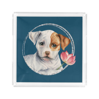 Puppy Holding Lotus Flower with Faux Silver Ring Acrylic Tray