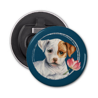 Puppy Holding Lotus Flower with Faux Silver Ring Bottle Opener