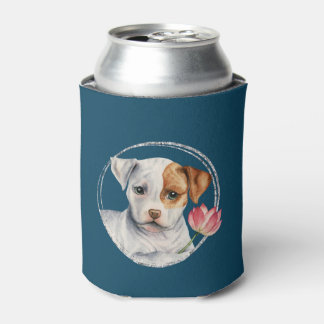 Puppy Holding Lotus Flower with Faux Silver Ring Can Cooler