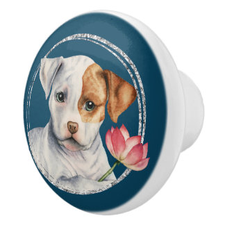Puppy Holding Lotus Flower with Faux Silver Ring Ceramic Knob