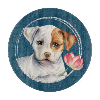 Puppy Holding Lotus Flower with Faux Silver Ring Cutting Board